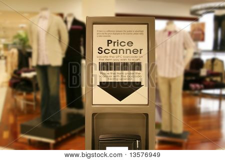 A photo of a price scanner a a shopping mall