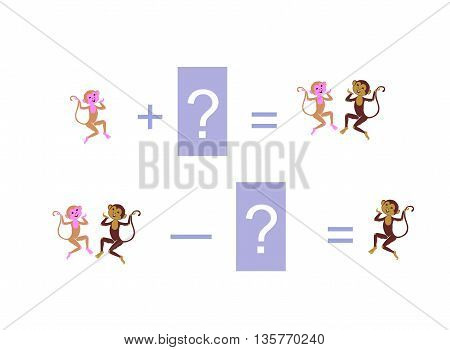 Cartoon illustration of mathematical addition and subtraction. Examples with funny monkeys. Educational game for children.