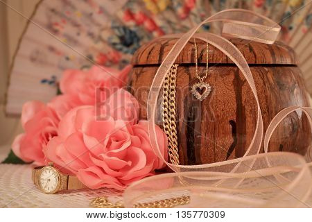 Jewelry Box, Watch, Pink Rose and Ribbon