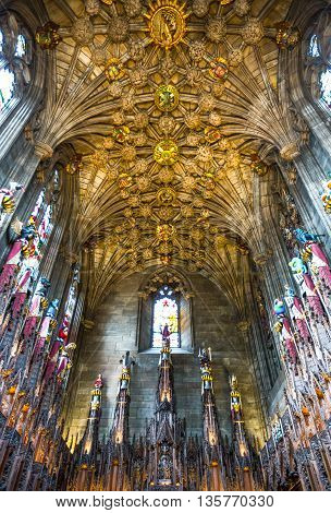 Edinburgh, Scotland - JULY 28, 2012:  The St. Gile's cathedral interior, the Thistle chapel.
