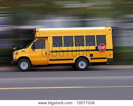 A photo of a school bus rushing to school