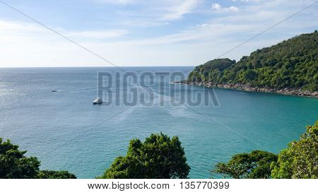 Unseen perspective beautiful viewpoint of island in the sea in clear blue sky day. Tropical island. Thailand. Summer time concept.