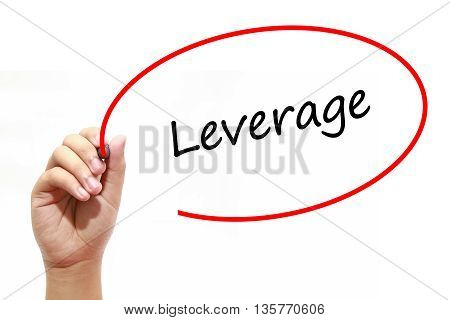 Man Hand writing Leverage with marker on transparent wipe board. Business internet technology concept.