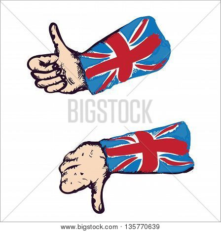 Set of drawn hands with british flag gesturing thumbs up and down, isolated on white