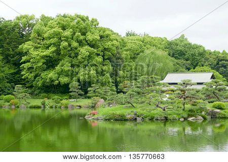 Japanese Traditional Pavilion Building With Reflection In Zen Garden