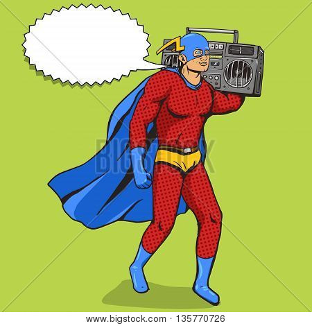 Superhero with radio cassette player. Cartoon pop art vector illustration. Human comic book vintage retro style.