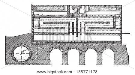 Furnace coke, Collin system, vintage engraved illustration. Industrial encyclopedia E.-O. Lami - 1875.