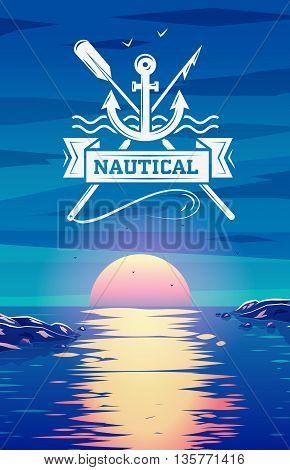 Logo template nautical and vector background illustration