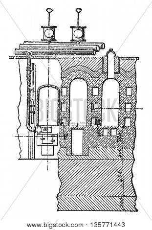 Furnace coke, Carves system, Elevation and cross-cut, vintage engraved illustration. Industrial encyclopedia E.-O. Lami - 1875.