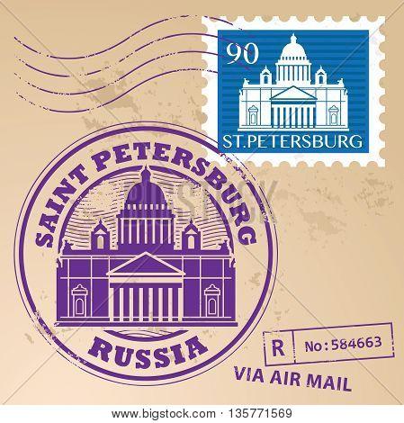 Grunge rubber stamp set with words Saint Petersburg, Russia inside, vector illustration