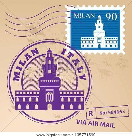 Grunge rubber stamp set with words Milan, Italy inside, vector illustration