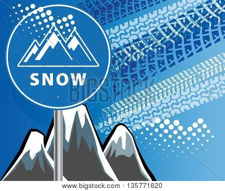 Winter mountain blue abstract background, vector illustration