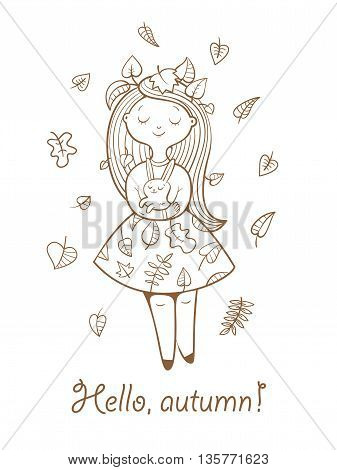 Postcard with cute cartoon  girl in  beautiful dress and bunny. Autumn season. Falling leaves. Children's illustration. Vector contour image no fill.