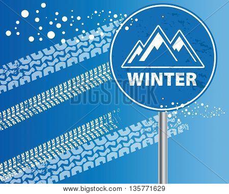 Winter mountain adventure blue abstract, vector illustration