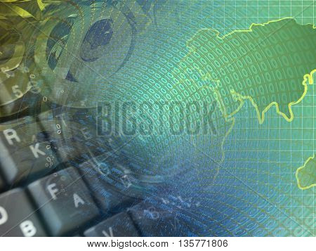 Digits keyboard and map - abstract computer background.
