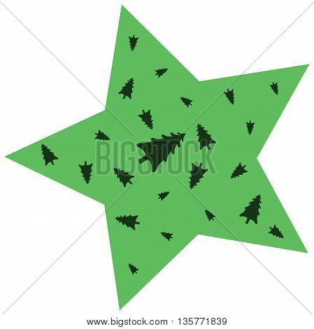 Star for decorating with Christmas trees.Green color.