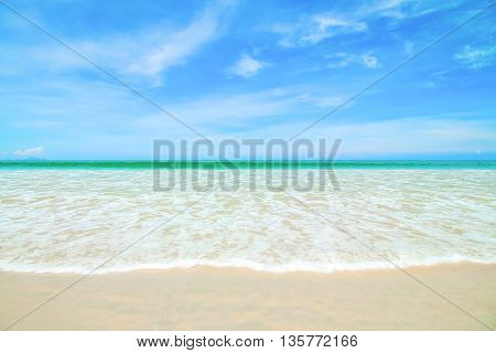 Abstract Tropical beach background with blue sky.