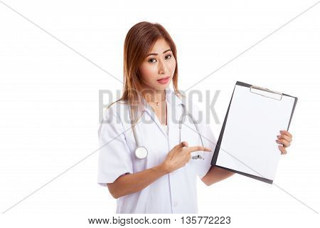 Asian Young Female Doctor Upset  Point To Blank Clipboard