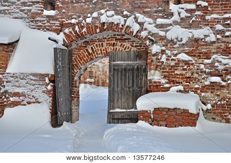 Old Wooden Gate In Ancient Russian Monastery