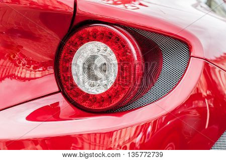 Close up of back lights of a red car