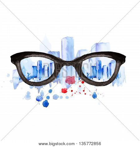 Watercolor vintage glasses city with drops and splash hand-drawn illustration