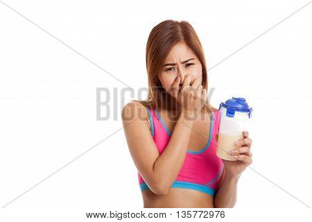 Beautiful Asian Healthy Girl Hate Whey Protein Smell