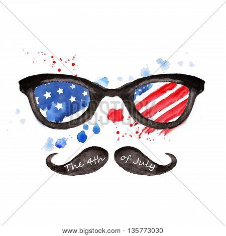 Hipster Glasses with stars and strips. Happy independence day United states of America. 4th of July. Watercolor illustration