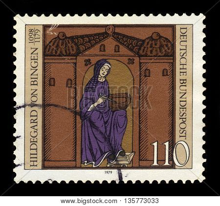 GERMANY - CIRCA 1979: a stamp printed in the Germany  shows  Hildegard von Bingen, benedictine nun, mystic and writer, 800th death anniversary, circa 1979