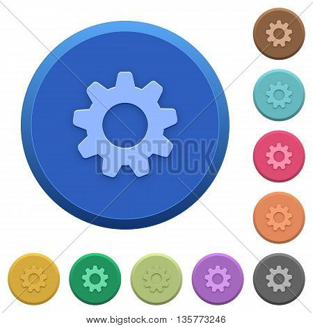 Set of round color embossed settings buttons