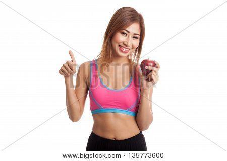 Beautiful Asian Healthy Girl Thumbs Up With Red Apple