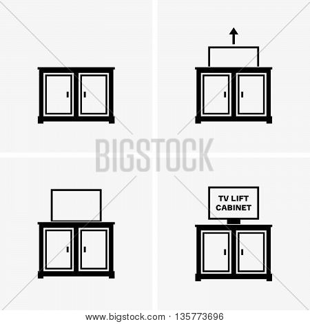 Set of four TV lift cabinets on grey background