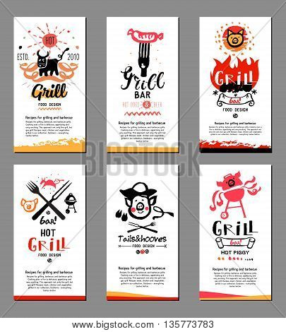 Grill illustrations and cards. Drawings and symbols are handmade on the subject of barbecue and grilling. Natural meat products.