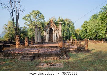 On the ruins of the ancient Buddhist temple Wat Chom Chuen in the vicinity of the city of Si Satchanalai. Thailand