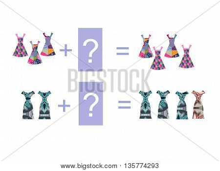 Cartoon illustration of mathematical addition. Examples with beautiful dresses. Educational game for children.