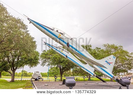 HOUSTON USA - APR 12: Two Northrop T-38 Talon supersonic jet trainers at the Johnson Space Center in Houston. April 12 2016 in Houston Texas United States