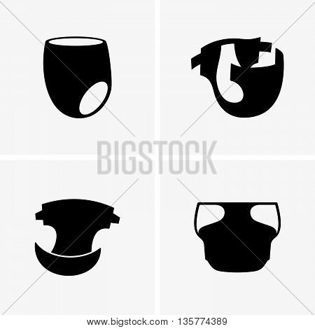 Set of four baby diapers ( shade pictures )