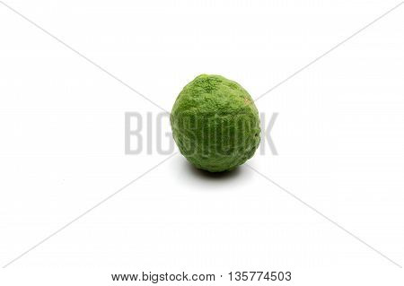 The kaffir lime isolated on white background.