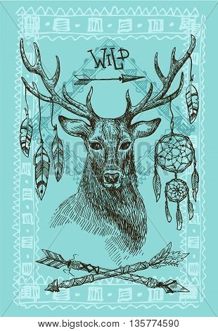 Hand drawn illustration deer. Sketch of deer. Beautiful hand drawn illustration boho style.