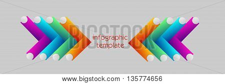 Illustration of colorful infographic template with two arrows decoration