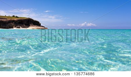 The coastline of Havana Cuba with turquoise water