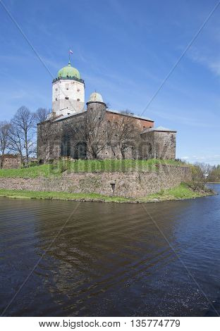 View on the old Vyborg castle, sunny may day. Russia, Leningrad region