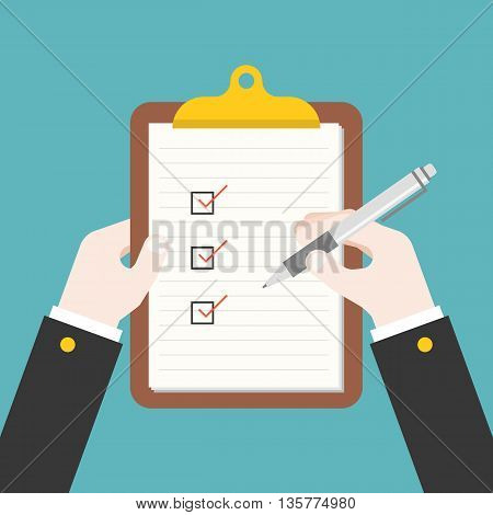 business hand writing document on clipboard, filling checklist illustration, flat design
