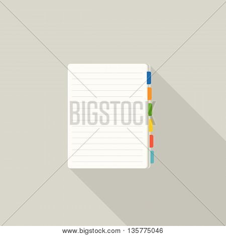 blank note paper with colorful tags, line note pad with bookmark icon, flat design