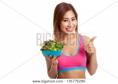 Beautiful Asian Healthy Girl Thumbs Up With Salad