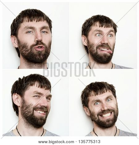 Composition of different expressions of the young bearded man.