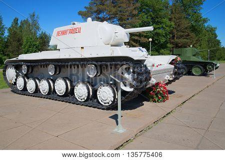 KIROVSK, RUSSIA - JUNE 08, 2015: Soviet tanks KV-1 and BT-5 the period of the Great Patriotic War, Historical landmark of the Leningrad region