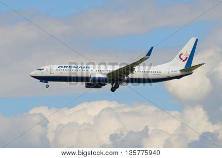 SAINT PETERSBURG, RUSSIA - MAY 17, 2016: The Boeing 737-800 (VQ-BSS) of airline