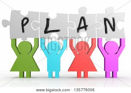 Four People Hold Puzzle With Plan Word