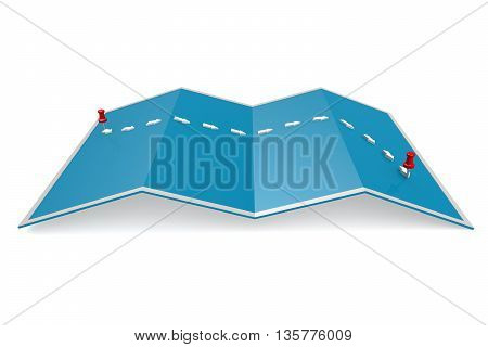 Path On Blue Paper