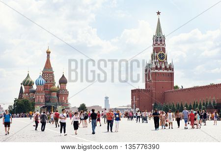 Moscow, Russia - June 24, 2016: Kremlin And Cathedral Of St. Basil At The Red Square